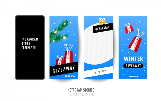 Instagram story template. christmas giveaway with gift boxes, christmas trees Premium Vector
