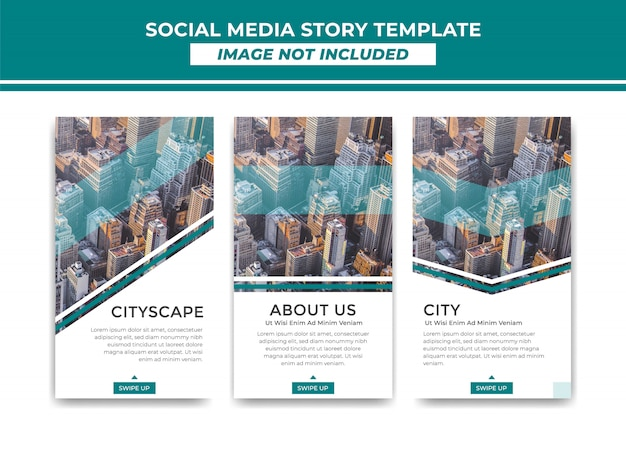 Instagram story template simple elegant modern stripe style Premium Vector