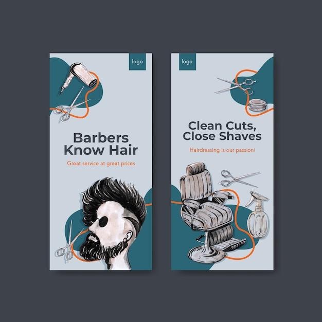 理髪店のコンセプトデザインのinstagramストーリーテンプレート 無料ベクター