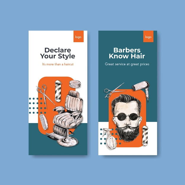 Instagram story template with barber concept design. Free Vector