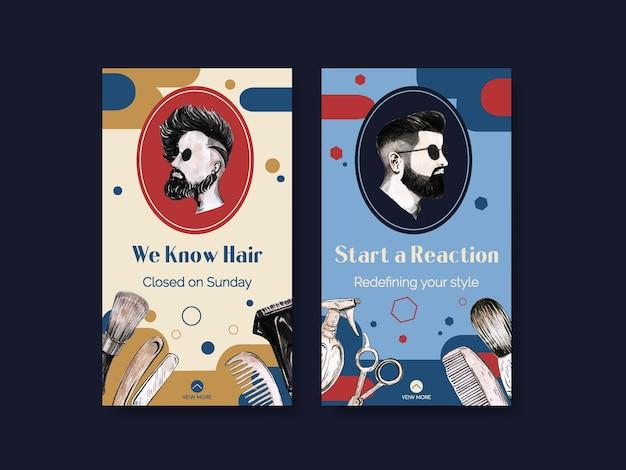 Шаблон истории instagram с концептуальным дизайном парикмахера Бесплатные векторы