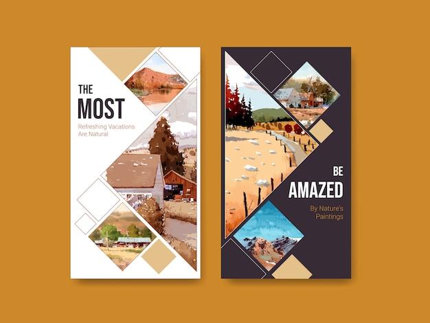 Modello di storia di instagram con paesaggio in autunno design Vettore gratuito