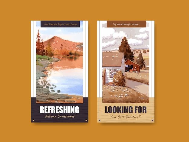 秋のデザインの風景のinstagramストーリーテンプレート 無料ベクター