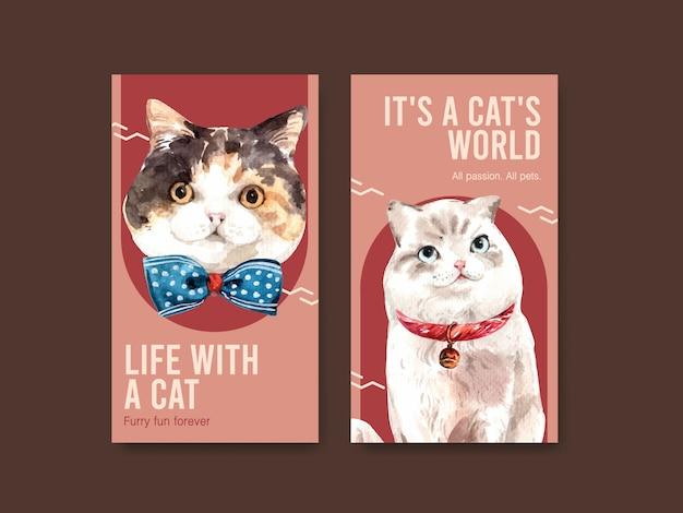 Шаблоны истории instagram с милыми кошками Бесплатные векторы