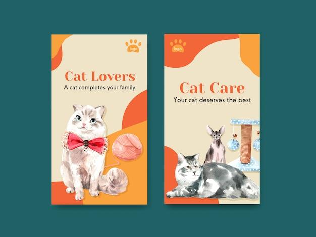 귀여운 고양이와 instagram 이야기 템플릿 무료 벡터
