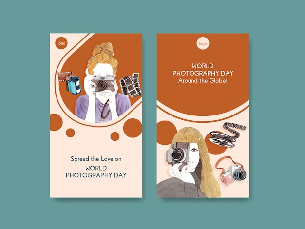 Instagram story templates for world photography day Free Vector