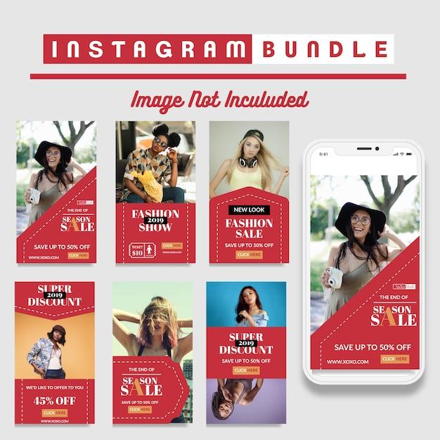 Творческий шаблон рассылки instagram story Premium векторы