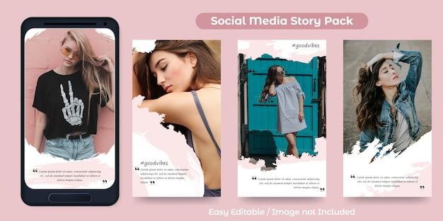 Набор постов instagram story для продвижения моды с орнаментом кисти Premium векторы