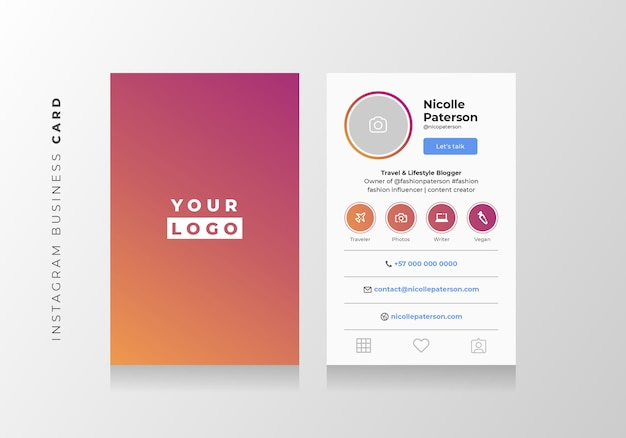 premium vector  instagram style business card