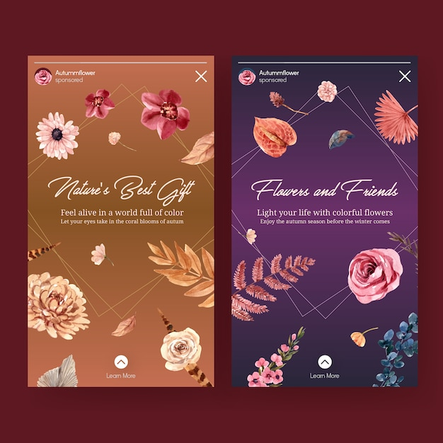 Instagram template with autumn flower concept design for social media and digital marketing watercolor illustration. Free Vector