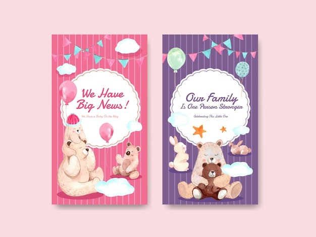 Instagram template with baby shower design concept for social media  watercolor vector illustration. Free Vector