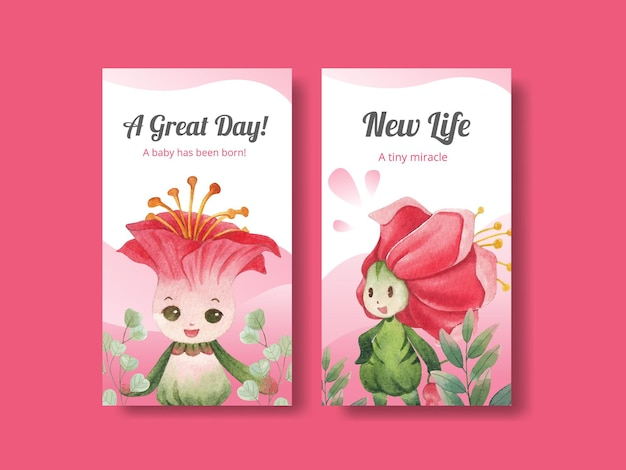 花のキャラクターのコンセプト水彩イラストとinstagramのテンプレート Premiumベクター