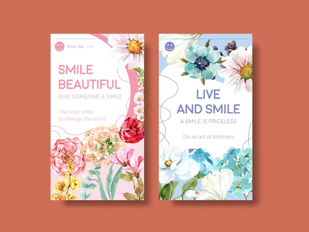 소셜 미디어 및 커뮤니티 수채화 벡터 illustraion에 세계 미소의 날 개념에 대한 꽃 꽃다발 디자인 instagram 템플릿. 무료 벡터