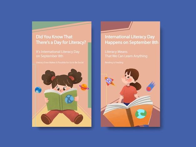 オンラインマーケティングのための国際識字デーのコンセプトデザインを含むinstagramテンプレート 無料ベクター