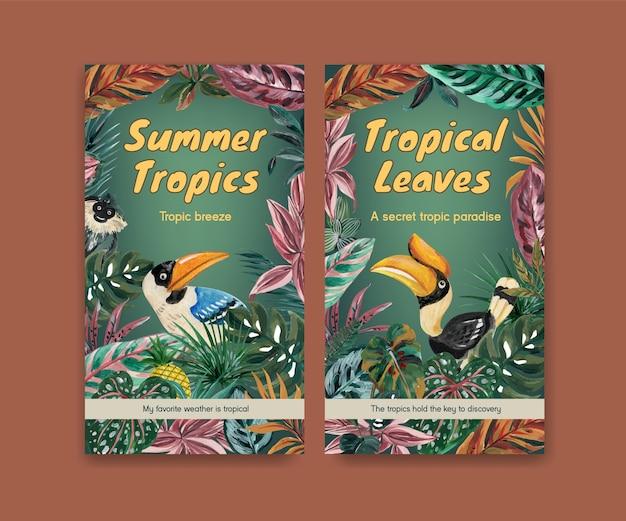 Modello di instagram con concept design contemporaneo tropicale per social media e illustrazione dell'acquerello della comunità online Vettore gratuito