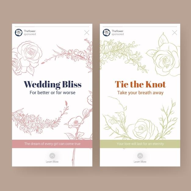 소셜 미디어 벡터 일러스트 레이 션에 대 한 결혼식 개념 디자인 instagram 템플릿. 무료 벡터