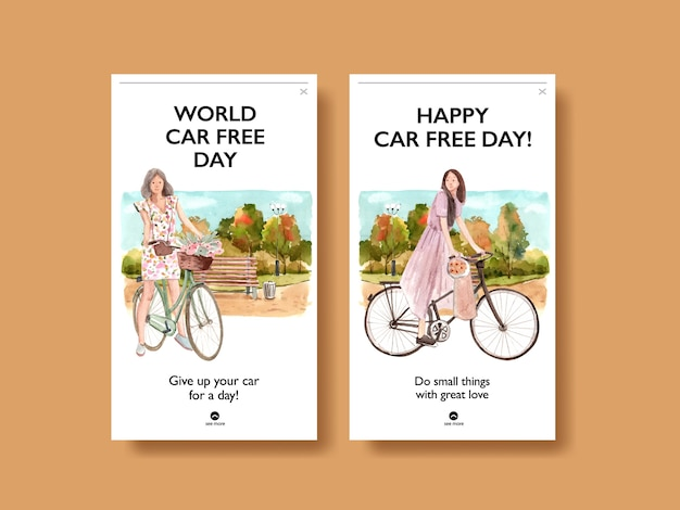 Instagram template with world car free day concept design for social media and internet watercolor vector. Free Vector