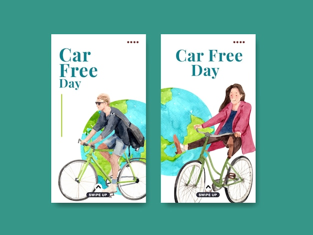 Instagram template with world car free day concept design for social media and internet watercolor. Free Vector