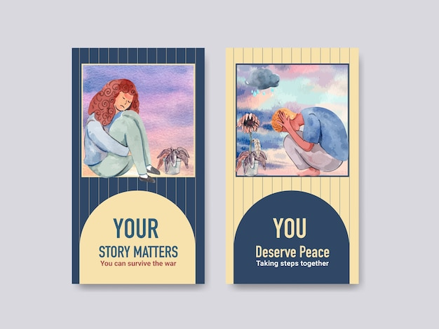Instagram template with world mental health day concept design for social media and online marketing watercolor vector illustraion. Free Vector