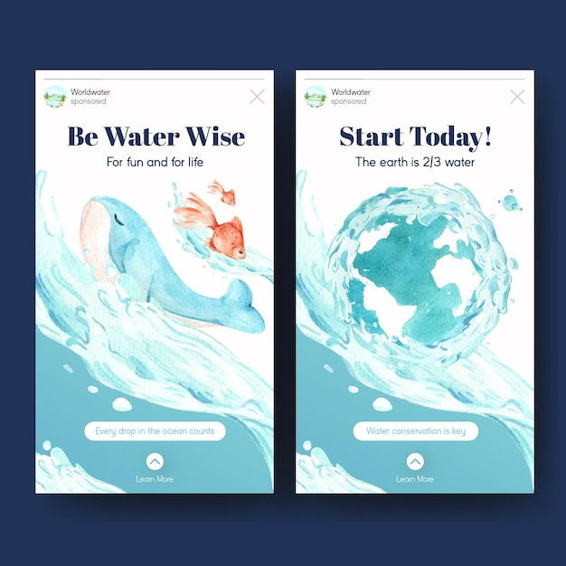 Instagram template with world water day concept design for social media watercolor illustration Free Vector