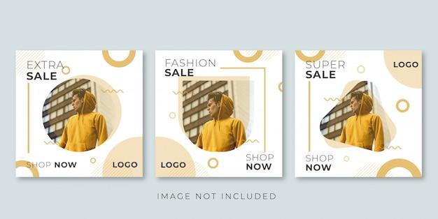 Instagramのモダンなファッション販売バナー Premiumベクター