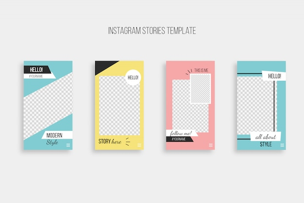 Шаблон современного instagram истории Бесплатные векторы