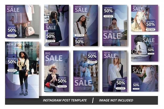 紫のグラデーションinstagramフィードとストーリーテンプレートパック Premiumベクター
