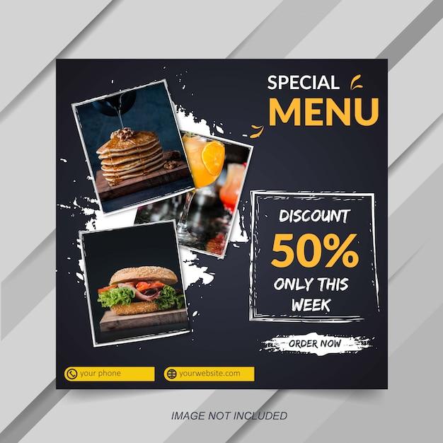 Instagramの投稿の食べ物や飲み物の販売バナーテンプレート Premiumベクター