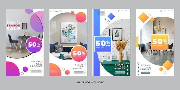 Коллекция шаблонов историй мебели instagram Premium векторы
