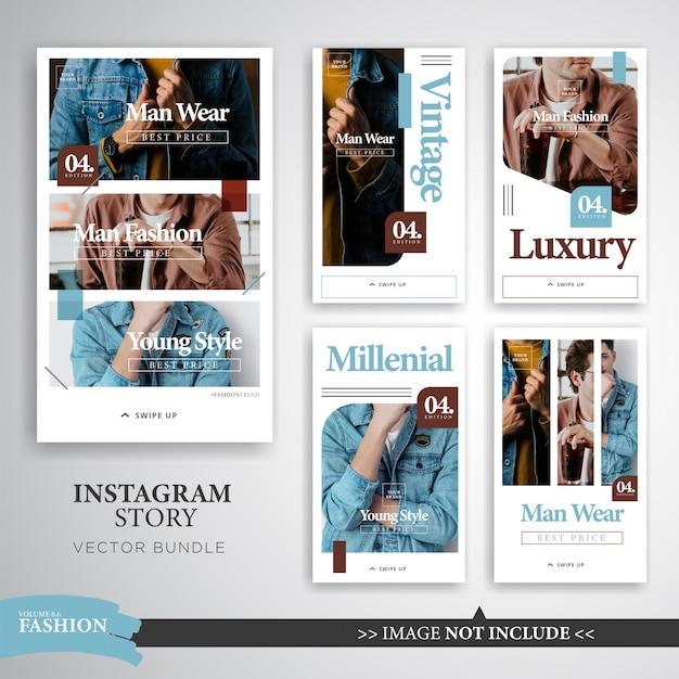 Красочная мода макияж instagram рассказы шаблон Premium векторы