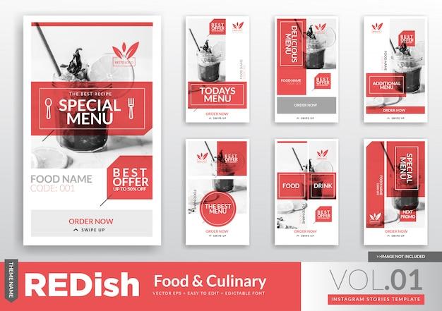 食べ物と料理のinstagramストーリーのプロモーションテンプレート Premiumベクター