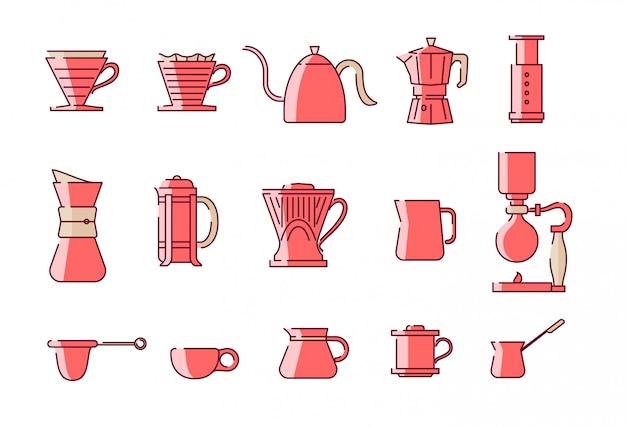 Комплект иллюстрации оборудования для заваривания кофе ручной. хорошо для подсветки instagram и значок. Premium векторы