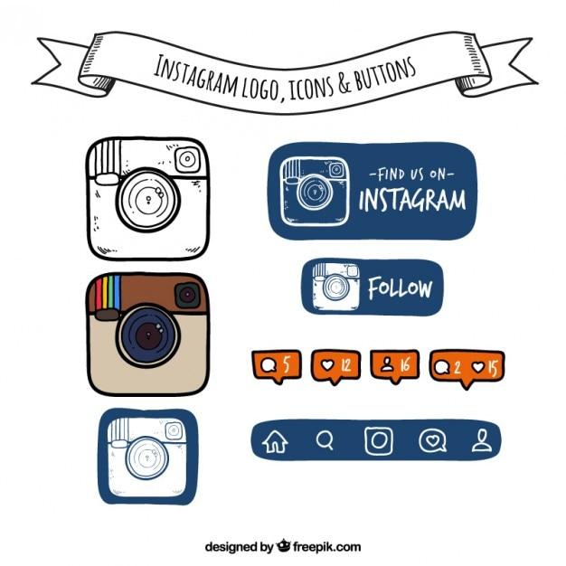 Ручной обращается instagram логотип, иконки и кнопки Бесплатные векторы