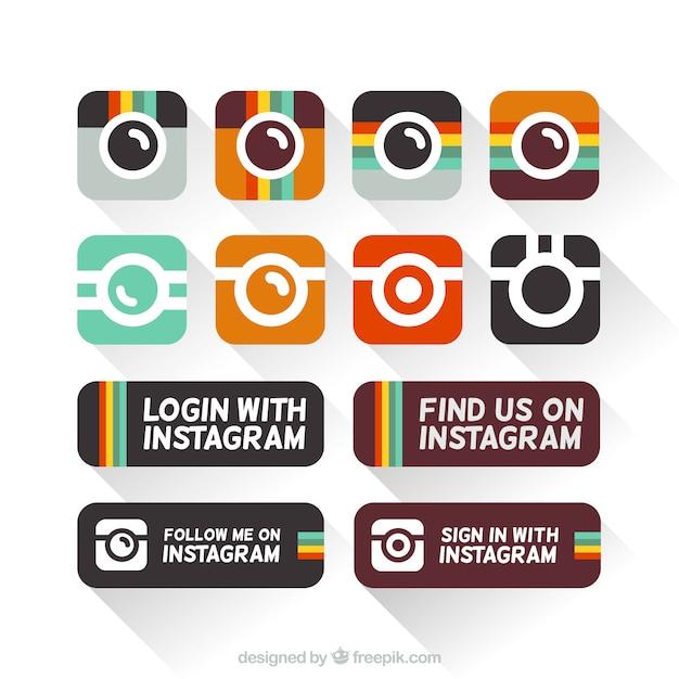 Instagram иконки в плоской конструкции Бесплатные векторы