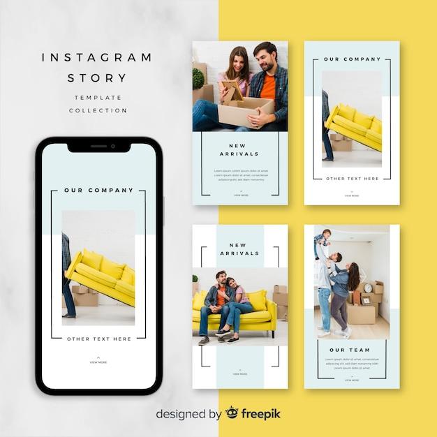 Дизайн шаблона истории instagram Бесплатные векторы
