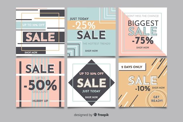 Instagramのための正方形の販売バナーデザインのセット 無料ベクター