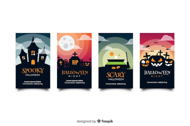 Дом с привидениями и тыквы хэллоуин сборник историй instagram Бесплатные векторы