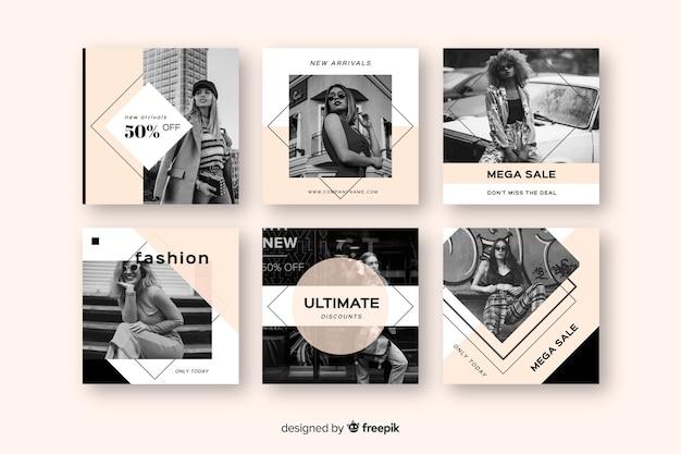 Коллекция постов в instagram Бесплатные векторы