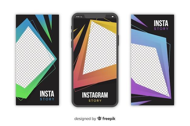 抽象的な幾何学的なinstagramストーリーテンプレート 無料ベクター