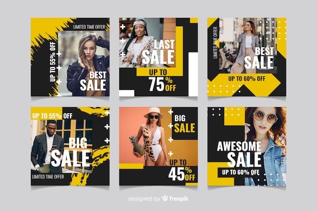 Абстрактная мода продажа instagram истории коллекции Бесплатные векторы