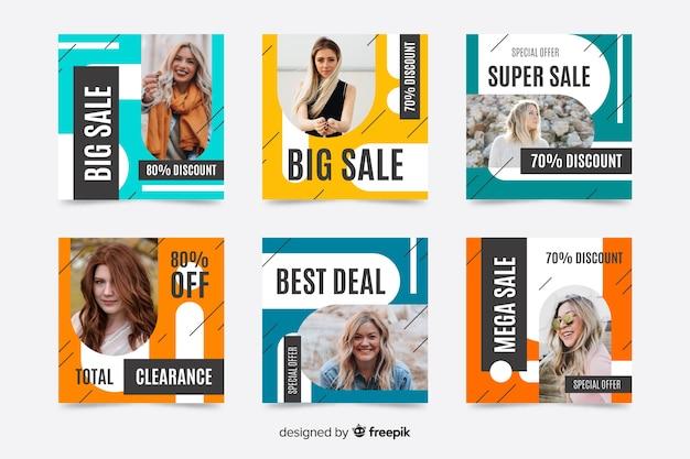 Красочные абстрактные продажи instagram пост коллекция с фото Бесплатные векторы