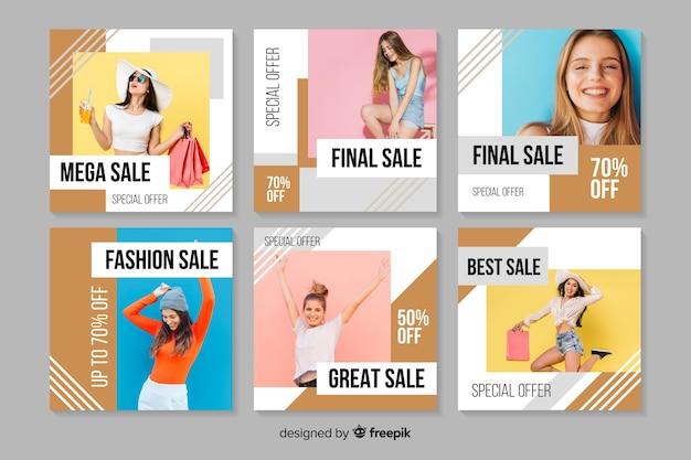 抽象的なファッション販売instagram投稿コレクション 無料ベクター
