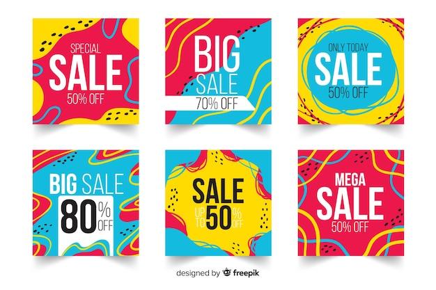 Абстрактная мода продажа instagram пост коллекция Бесплатные векторы