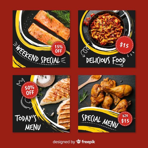 特別メニューの料理instagramのポストコレクション 無料ベクター