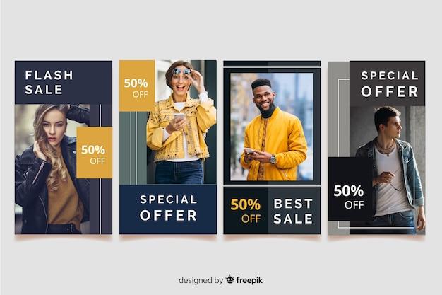 Instagram рассказы о моде продажа аннотация Бесплатные векторы