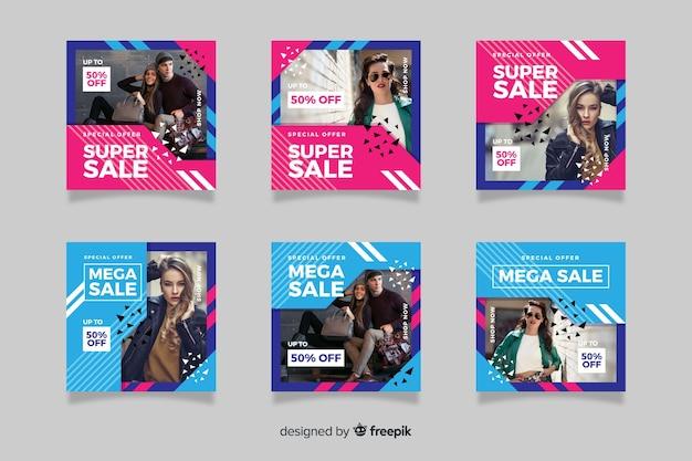 Мода продажа абстрактных instagram пост коллекции Бесплатные векторы