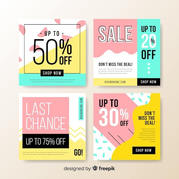 Красочные абстрактные продажи instagram пост коллекции баннеров Бесплатные векторы