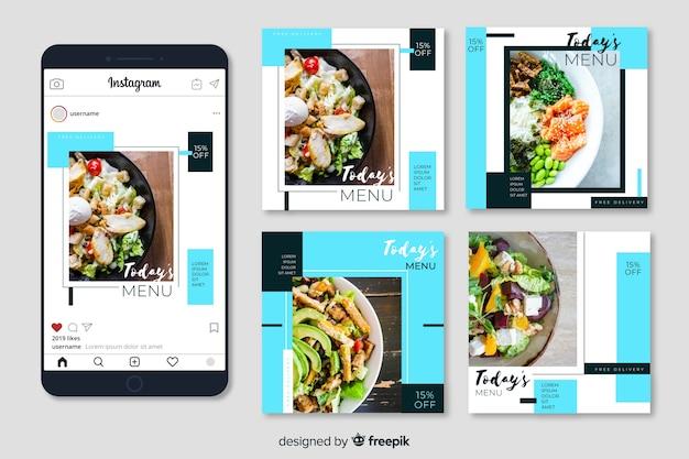 写真付き料理instagramポストコレクション 無料ベクター