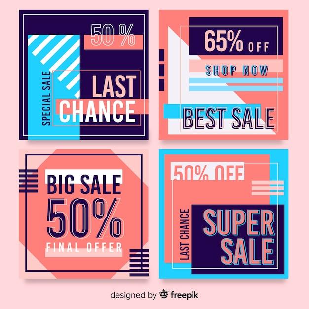 Набор абстрактных красочные продажи instagram пост Бесплатные векторы