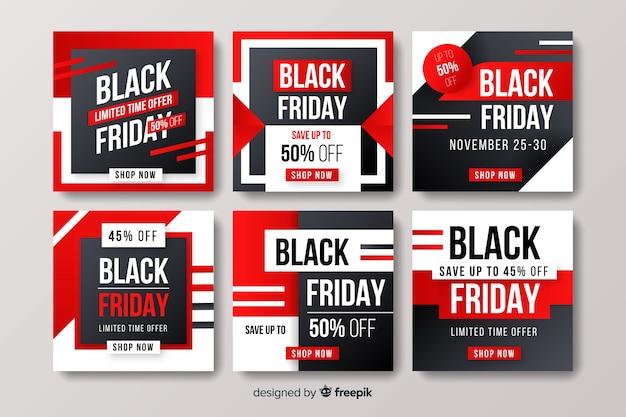 Набор постов instagram черная пятница Бесплатные векторы